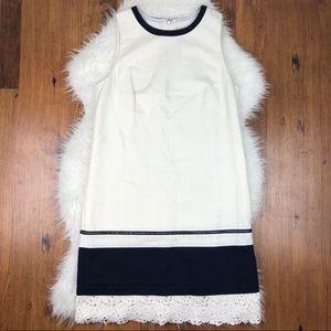LOFT linen cotton blend white navy dress lace hem
